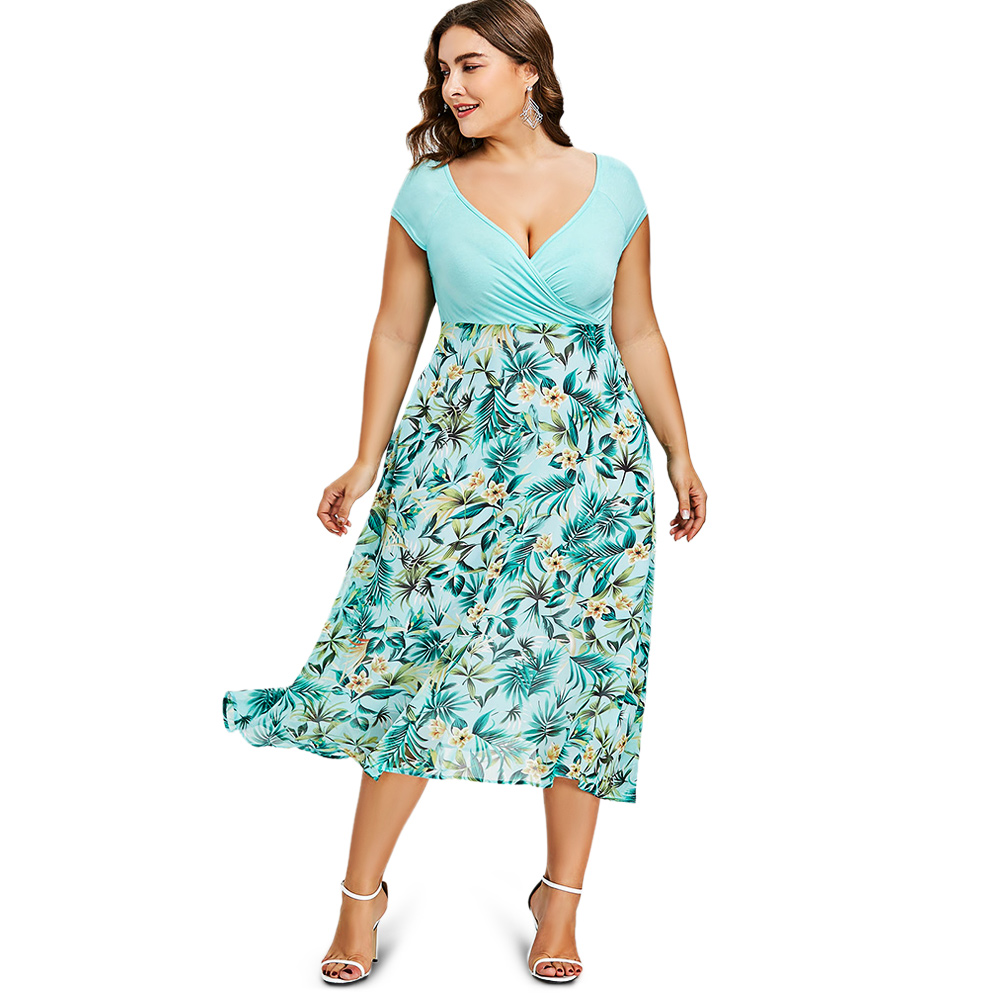 Gamiss Women Dress Plus Size 5XL Tropical Floral Print V Neck A Line ...