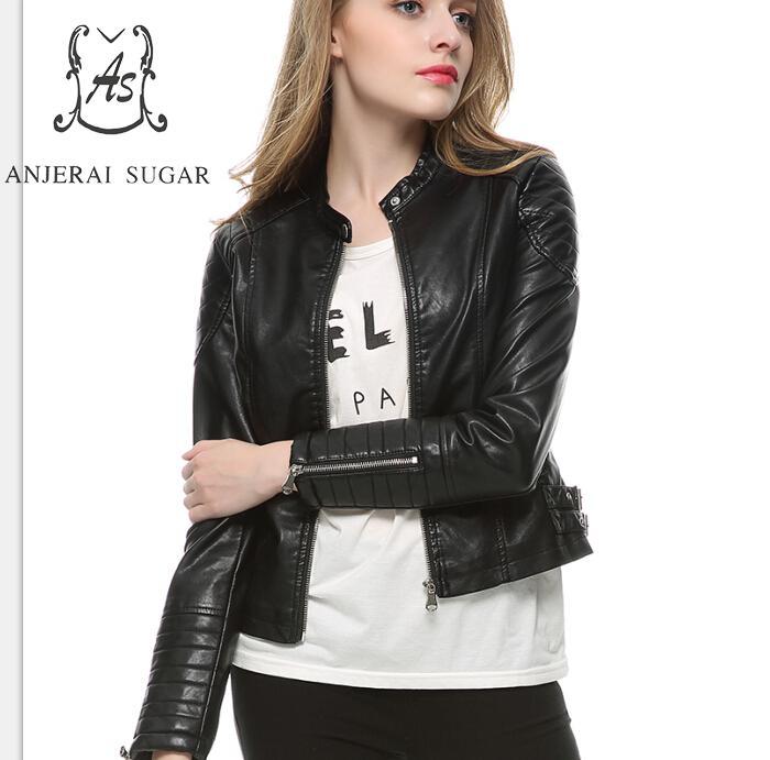 223f5e77e Spring new PU Leather jacket Women Black sexy Slim zipper Mandarin Collar  motorcycle female ...