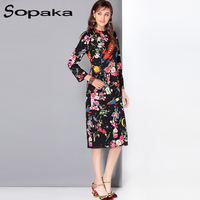 High Quality Newest 2017 Autumn Runway Designer B Floral Printed Knee Length Long Sleeve Casual Pencil