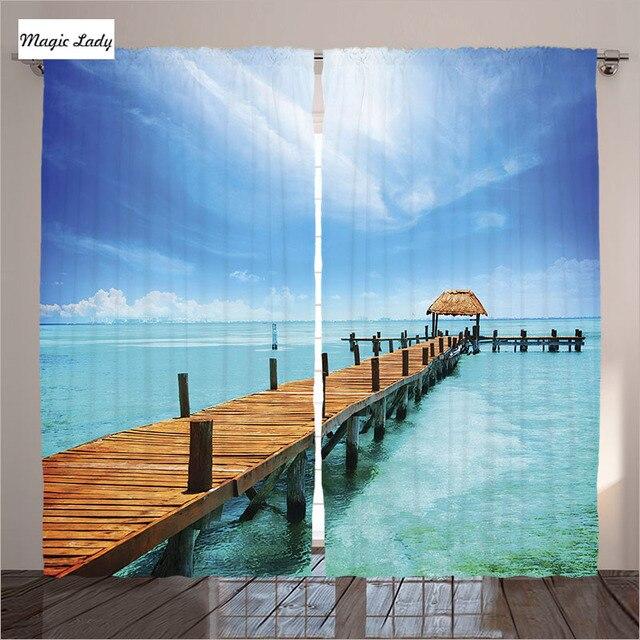 Vorhänge Blauen Ozean Decor Sammlung Holz Dock Malediven Tropische ...
