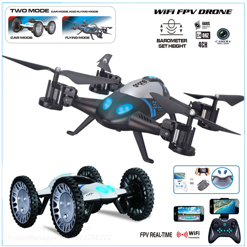 2016 Newest Air Pressure Sensor 2 in 1 Land Or Sky RC Quadcopter Flying Car with 2.0MP WIFI FPV Camera Drone Remote Control Toys