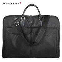WORTHFIND מהדק ניילון שחור שמלת בגד תיק עסקי תיק נסיעות של גברים