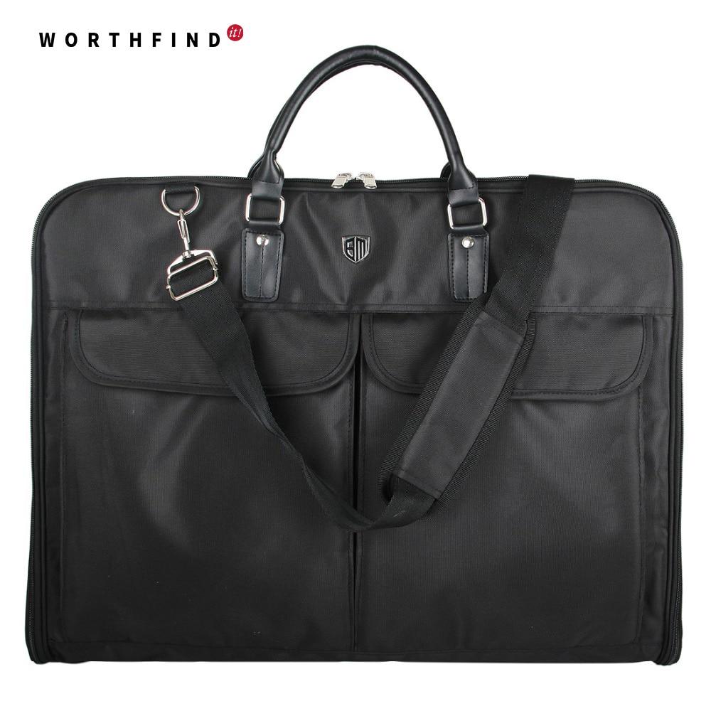 WORTHFIND 2018 Nero In Nylon Impermeabile Sacchetto di Indumento Con Manico Leggero Borsa Da Viaggio Per Vestiti di Vestito di Affari degli uomini del Sacchetto del Vestito