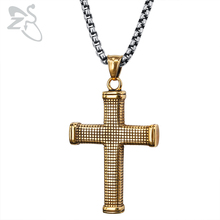 ZS Gold Stainless Steel Pendant Necklace for Men Punk Cross Necklaces Rock Roll Jewelry Gothic Male Biker Long Biker Necklace