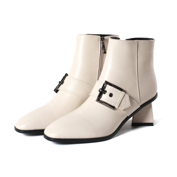 Martin Invierno Tamaño Cuero Las Genuino Zapatos 2019 Alto Otoño E De Beige negro {zorssar} Mujer 43 Tobillo Hebilla Moda Tacón Mujeres Botas InUqIz8Zvx