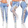 Women Side Lace Bow Trim Cut Out Slim Tight Embroidered Skinny Jeans Ladies 6-16
