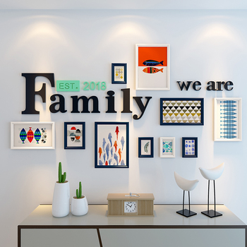 Nordic style black and white retro photo frame set letter wooden photo frame living room 3D stereo wall stickers home decoration