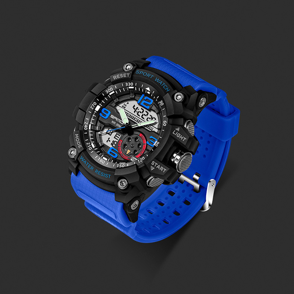 Digital Analog Dual Time Sport Watch Zones Calendar Chronograph Military Resin Wrist Watch Men 41