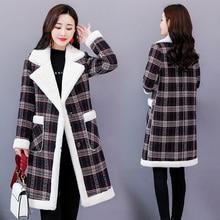 Lamb Wool Plaid Jacket Women Long Coats Autumn Winter Womens Blends Coat