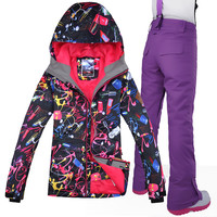 2019 Gsou Snow Brand Women Ski Jacket+Pant Windproof Waterproof Thermal Hooded Female Skiing Snowboard Suit Set Outdoor Sport