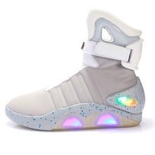מבוגרים USB טעינת Led זוהר נעלי גברים של אופנה אור עד מקרית גברים B בחזרה לעתיד זוהר איש סניקרס משלוח ספינה