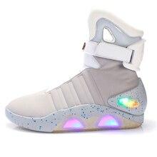 Volwassenen Usb Opladen Led Lichtgevende Schoenen Voor Mannen Fashion Light Up Casual Mannen B Terug Naar De Toekomst Gloeiende man Sneakers Gratis Schip