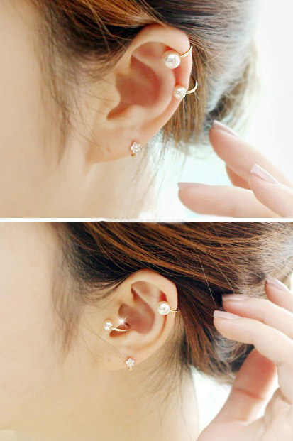 Ea592 nuevo listado moda Bohemia simple y elegante perla de imitación sin pendientes perforados en forma de U clip de oreja 1 piezas