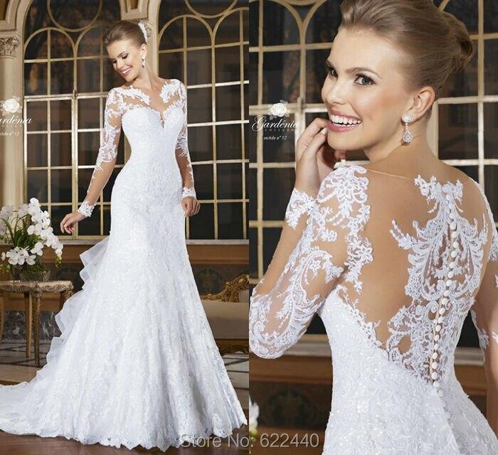 Ruffled Wedding Dress with Sleeves