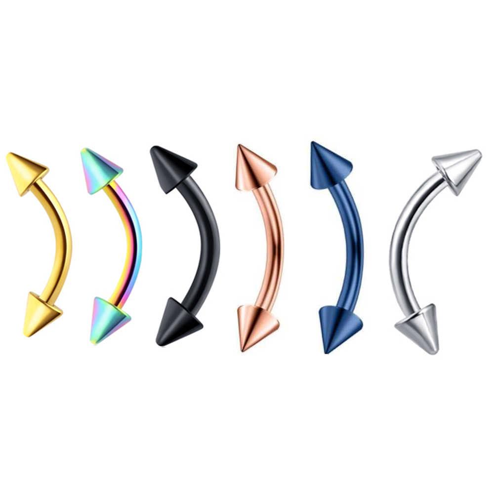 JUNLOWPY 5-6pcs 16G 20G เหล็ก Navel Belly ปุ่มแหวนเจาะรูจมูกลิ้น barbell Nipplerings lip Labret สตั๊ดคิ้ว