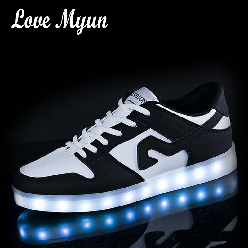 New Women LED Casual Shoes Girl Luminous Sneakers with USB Charging colorful Breathable Female Lighted Shoes  II-344 children usb charging kids led shoes adult man women led luminous sneakers casual boys girls breathable sneakers glowing shoes