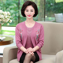 2019 Autumn Winter Women Long Sleeve 2 Pieces Knitted Cardigan Sweater Casual Floral Print  Pull Femme Sweater Plus Size 4XL elegant cardigan sweater women 2019 autumn winter hooded 2 pieces sweaters plus size knitted female cardigan pull femme