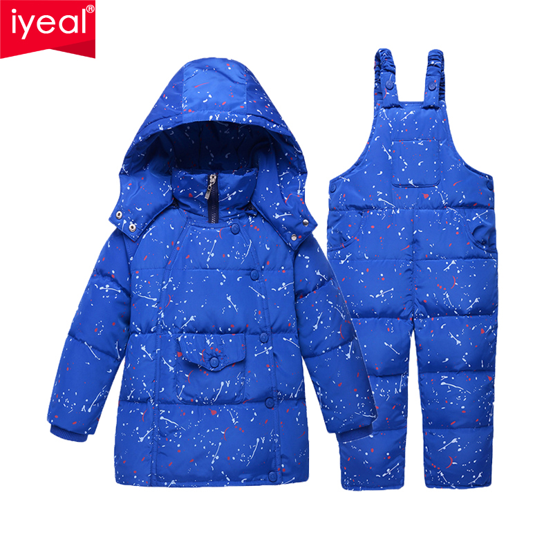 IYEAL 2018 New Children Clothing Set Boys Down Jacket Coats + Jumpsuit Set 1-4 Years Winter Kids Warm Clothes For Baby Outwear iyeal kids winter jackets 2017 new solid hooded baby girls boys cotton thincken coats infant outerwear warm clothes 1 4 years