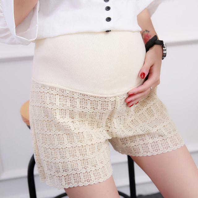 MamaLove Algodón Pantalones de Encaje de Maternidad Del Verano Ropa de Maternidad Embarazadas Mujeres Elásticos pantalones cortos de Cintura Alta Pantalones de Embarazo