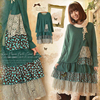 2015 Autumn Women S Forest Girl Style Loose Vintage Sweet Plad Pattern Long Sleeve Vantage Dress