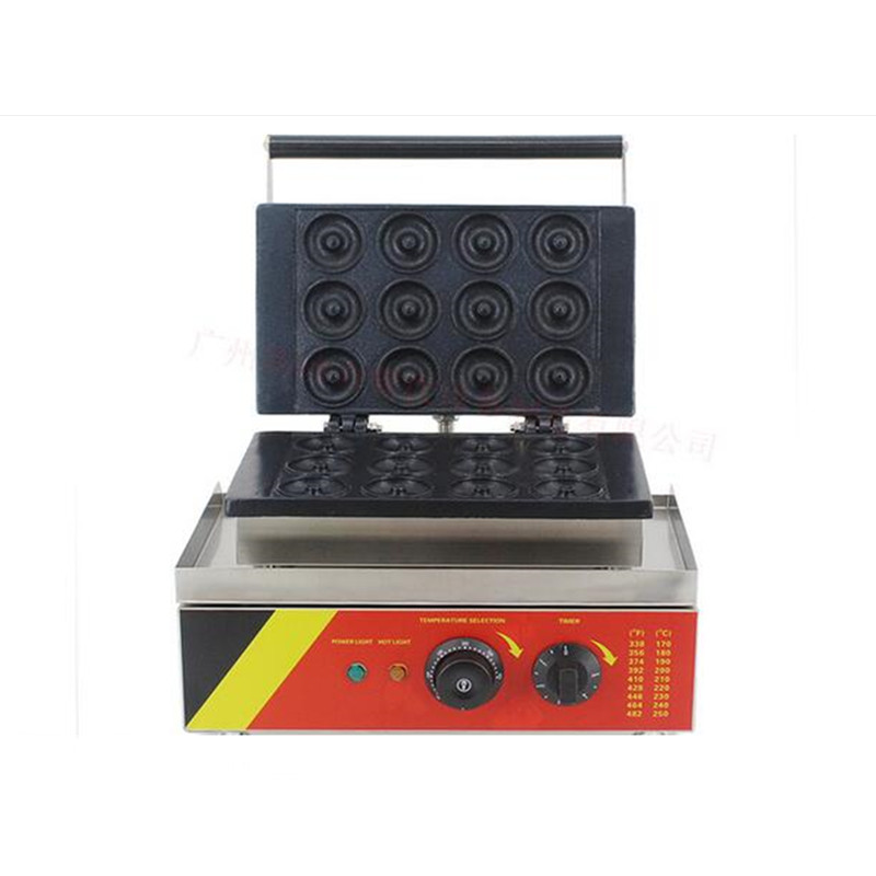 110V/220V Commercial Non-stick Electric 12pcs Doughnut Maker Machine Round Donut Baker Iron Mold Machine Waffle Maker commercial non stick 110v 220v digital electric 23pcs walnut waffle maker iron machine