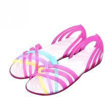 Sandálias das mulheres 2018 Nova Cor Doces Mulheres Sapatos de Geléia Peep  Toe Oco Rodada Cabeça 0928c18eb8ba