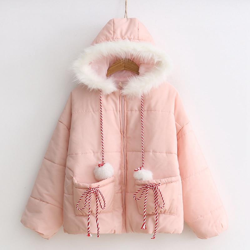 Vestes Capuchon Mode Faux Manteau De Parka Col À 2018 Rose Longue D'hiver Femmes Chaud Veste Fourrure nkwOXZ0P8N
