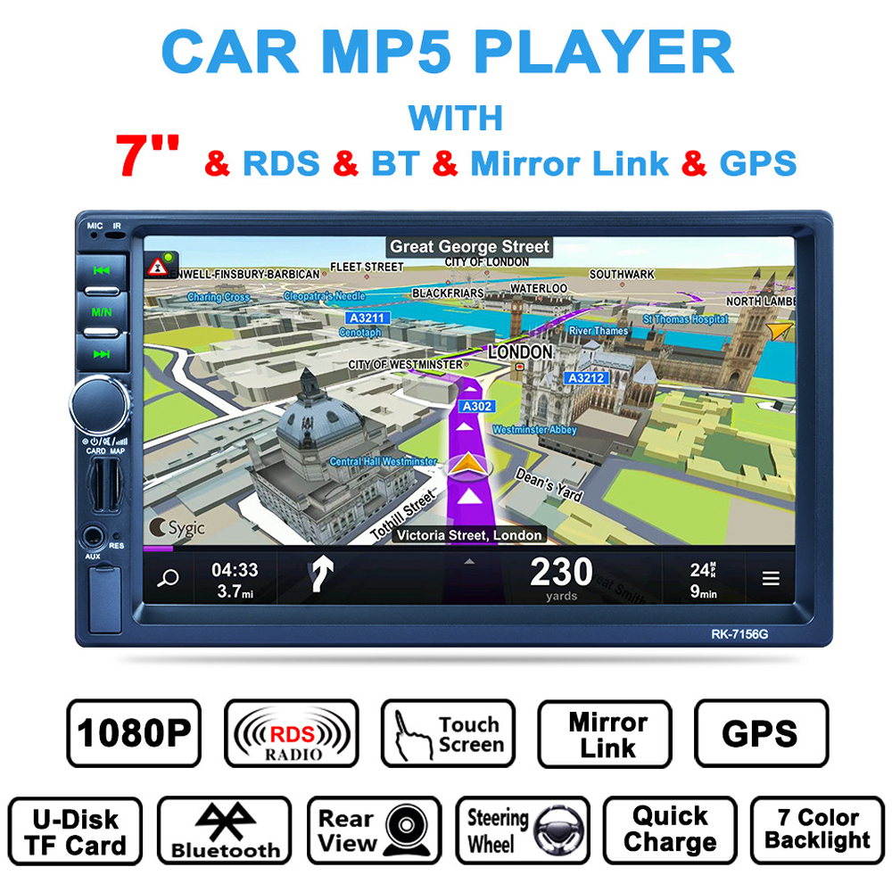 2 DIN 7 Inch Car Media Player Auto Stereo Touch Screen Bluetooth GPS Navigation Radio Video Player Support USB AUX Rear Camera joyous j 2616mx 6 2 touch screen car dvd player w gps navigation radio bluetooth aux black