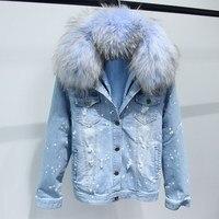 Faux Fur Lining Thick Denim Jacket Coat Large Fur Collar Women Winter Coat Jacket Long Sleeve Holes Jeans Jacket