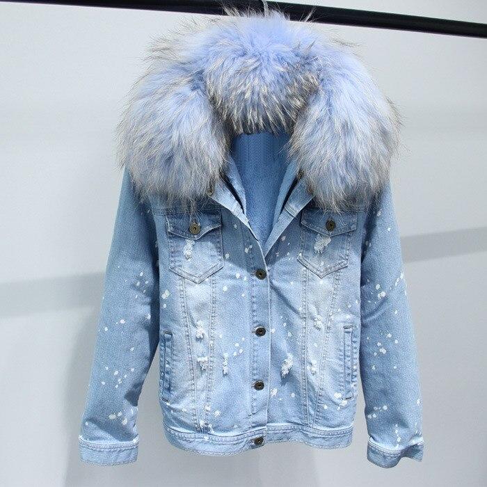 Doublure fausse fourrure veste en jean épais manteau grand col en fourrure femmes manteau d'hiver veste à manches longues trous veste en jean