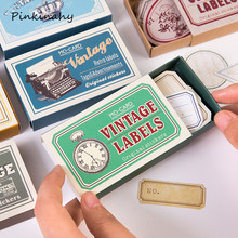 60 pcs/Box Creative Vintage Writable Paper Stickers Decoration DIY Album Diary Scrapbooking Label Stationery Stickers HT020(China)