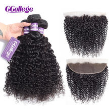 CCollege Kinky Curly Bundles With Closure Lace Frontal Brazilian Hair Weave Bundles With Closure Human Hair Bundles With Closure(China)