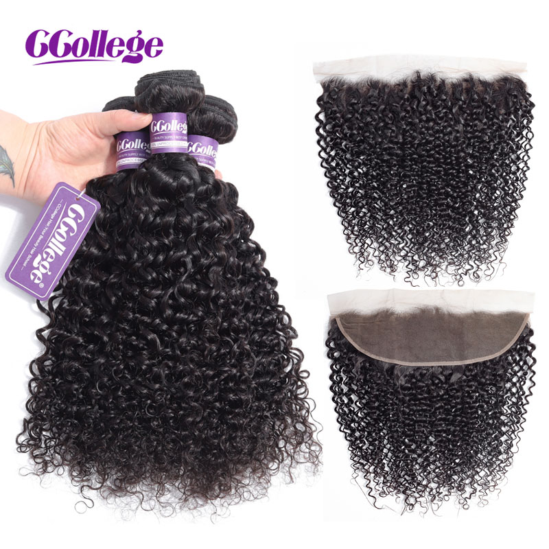 Kinky Curly Bundles With Closure Remy Human Hair Bundles With Closure Brazilian Hair Weave Bundles With Frontal