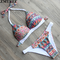 ZMTREE 2017 Retro Printed Bikini Women Halter Swimsuit Crochet Swimwear Bikini Set Female Brazilian Biquinis Beach