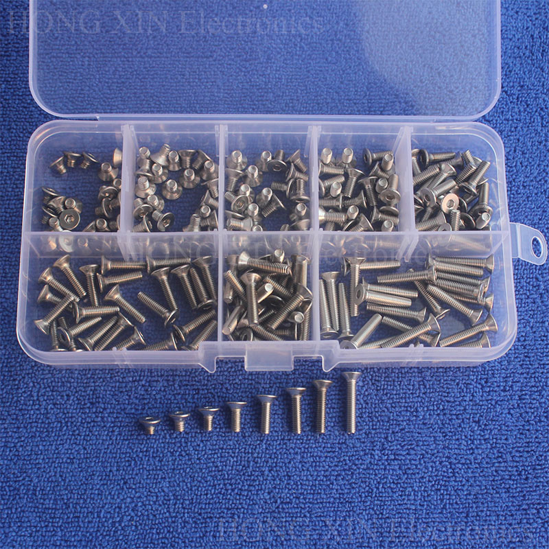 200pcs M3 304 Stainless Steel Bolts Hex Socket Head Flat Screws Assortment Kit countersunk head flat head screw Standard screw free shipping 100pcs din7991 m3x12 mm m3 12 mm flat head countersunk head 304 stainless steel hex socket head cap screw