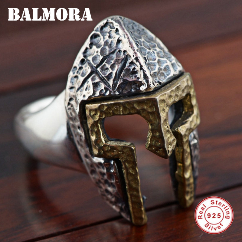 BALMORA Authentic 925 Sterling Silver Mask Open Rings for Men Personalized Fashion Ring Punk Cool Jewelry