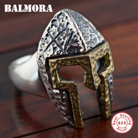 BALMORA Authentic 925 Sterling Silver Mask Open Rings for Men Personalized Fashion Ring Punk Cool Jewelry Party Gift SY21612