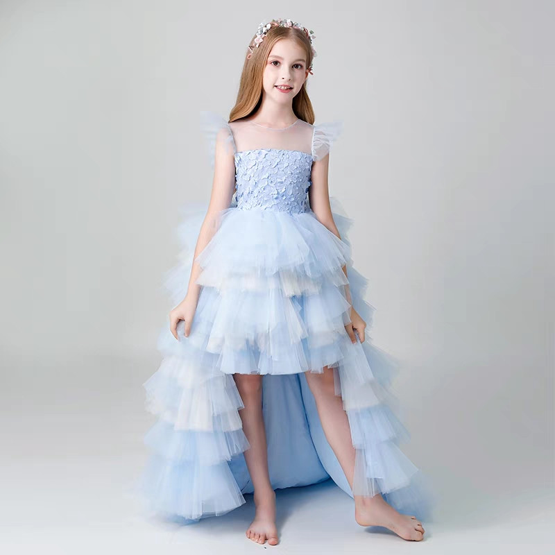 все цены на 3~13years Girls Children Blue Color Evening party Model Show Catwalk Layers Long Tail Prom Dress Kids Teens Host Costume Dress онлайн