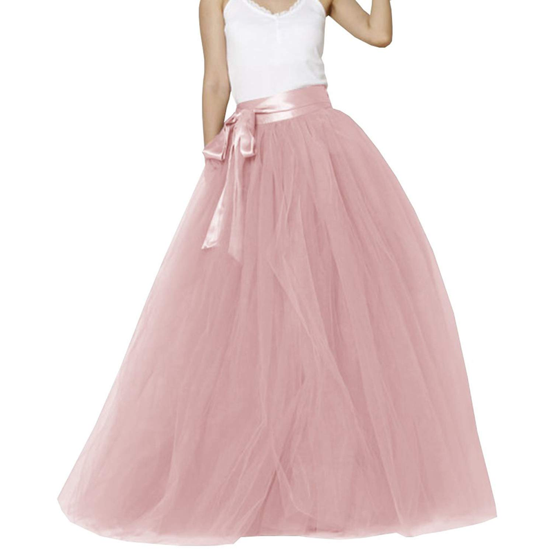 U-SWEAR Women Long Maxi Puffy 5 Layers Tulle Skirt Floor Length A Line With Bowknot Belt High Waisted For Wedding Party Evening