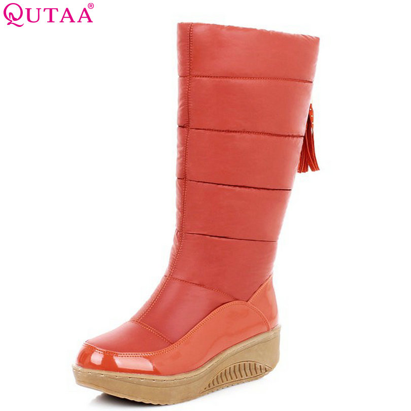 QUTAA PU leather Mid-Calf Bow Tie Round Toe Wedge Med Heel Winter Boots Women Snow Boots Wedding Snow Boots Size 35-40 tie up pompons hidden wedge snow boots