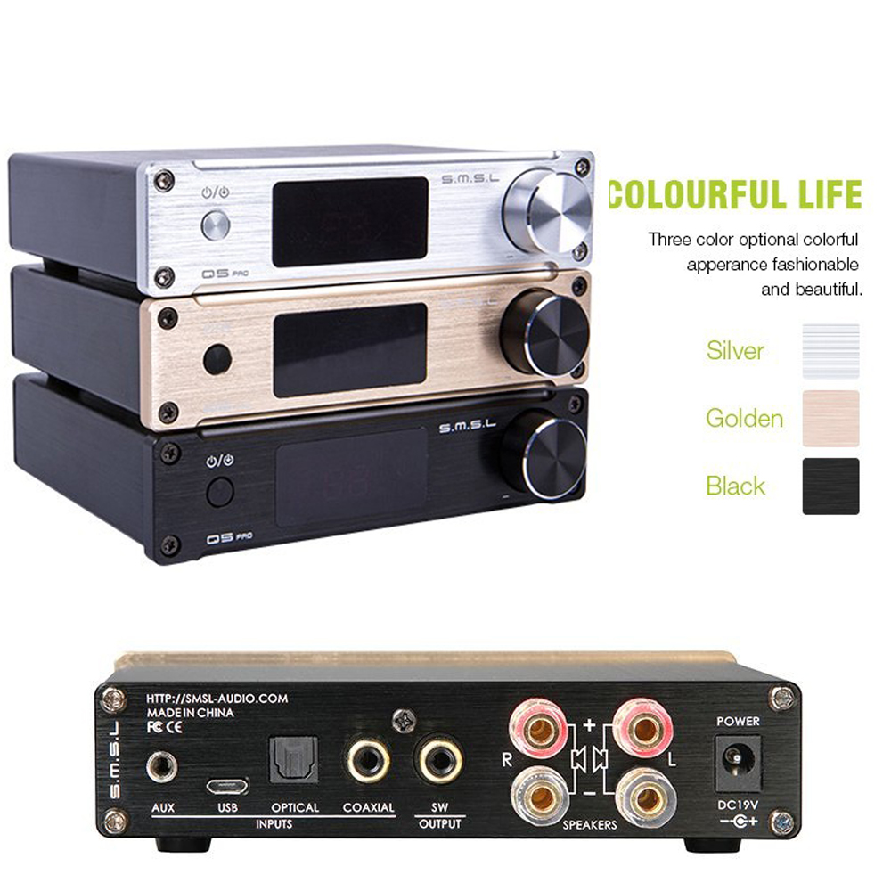 Hot SMSL Q5 Pro High Quality HiFi 2.0 Pure Digital Home <font><b>Audio</b></font> <font><b>Amplifier</b></font> <font><b>Optical</b></font>/Coaxial/USB/ <font><b>input</b></font> Remote Control Free shipmen image