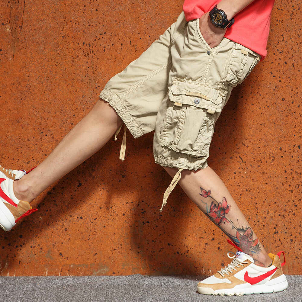 New Men's Casual Cargo Shorts Loose Short Pants Multi-pocket Military Style Camo Knee Length Plus Size 5 Colors Shorts Men 2018