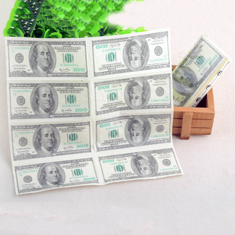 2016 Hot Sale 9pcs/pack 100 Dollar Toilet Tissue Paper Napkin Soft Printing Natural Comfort Funny Personality Popular Fashion image
