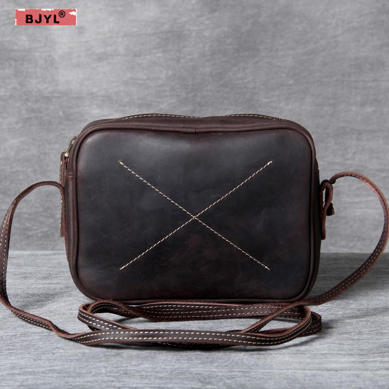BJYL Vintage handmade Women bags suede genuine leather small bag female design original men and women shoulder Messenger bags hahmes 100% genuine leather women saddle bags women fashion shoulder bag female vintage design small shoulder bag 23cm 10849