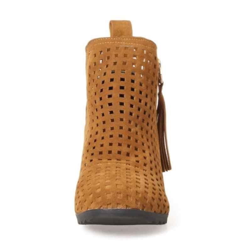 Coolcept rozmiar 30-43 kostki letnie buty wysokość Inceasing Openworkl buty na zamek błyskawiczny pół krótkie Tassel buty Botas obuwie damskie