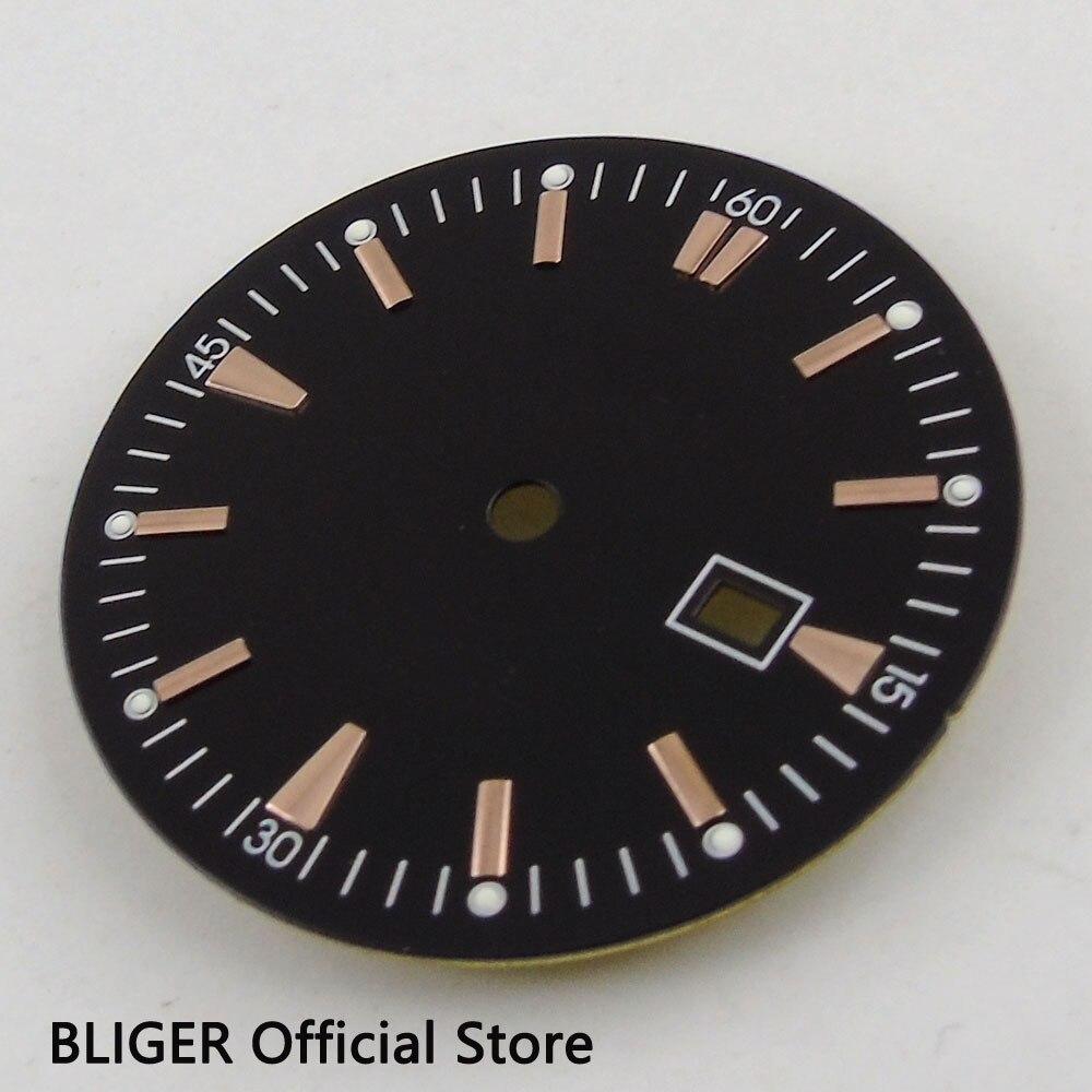 Mostrador do Relógio Apto para Miyota Clássico Estéril Preto Dial Rose Ouro Marcas Data Janela 8205 8215 Mingzhu 2813 Movimento D64 34.8mm