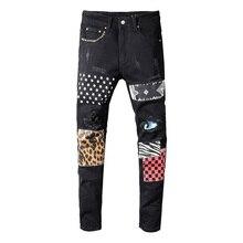 Sokotoo erkek perçin yıldız baskılı patchwork siyah kot moda streetwear slim fit streç denim kalem pantolon pantolon yırtık