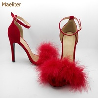Hot Selling Exquisite Red Black Suede Fur Sandals Sweet Girls Stiletto Heels Fluffy Wedding Pumps Buckle Strap Shoes 10 Colors
