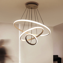 hot deal buy modern led chandelier lighting with remote control aluminum lustre ring lamp for living room bedroom restaurant kitchen fixtures