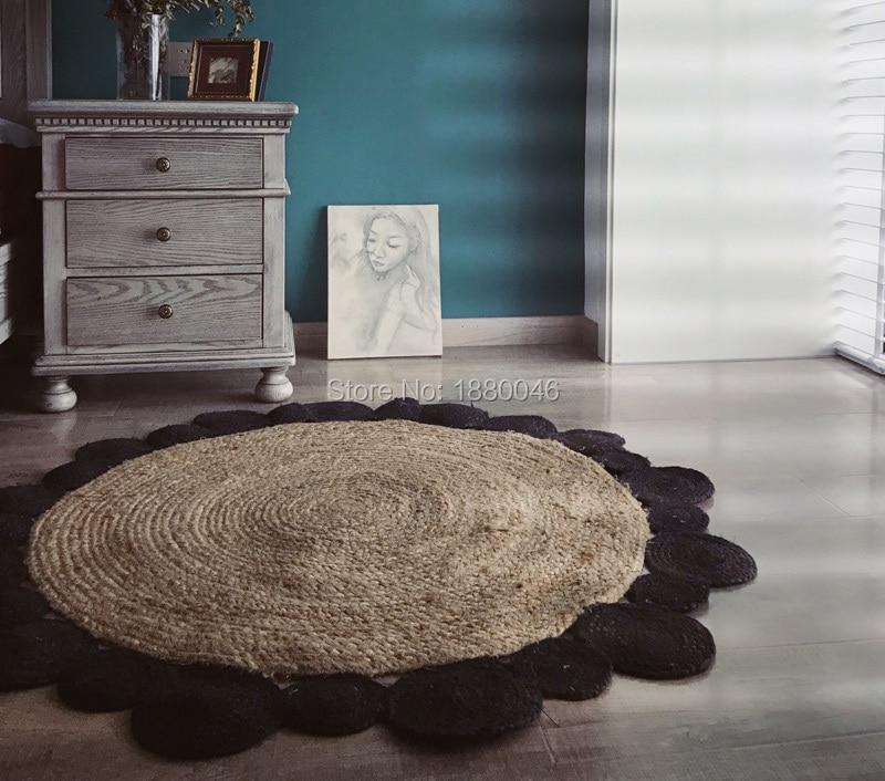 Nouveau classique noir couleur tapis rond naturel jute tapis diamètre 120 cm arc-en-ciel tapis fait à la main 3d tapis